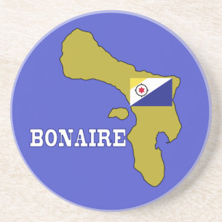 Flag and Map of Bonaire Beverage Coaster