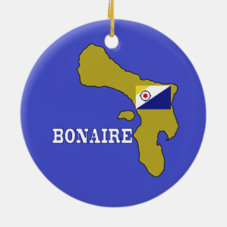 Flag and Map of Bonaire Ceramic Ornament