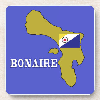 Flag and Map of Bonaire Coasters