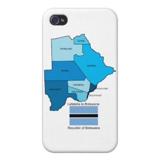 Flag and Map of Botswana iPhone 4/4S Case