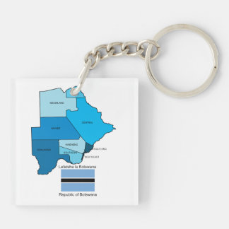 Flag and Map of Botswana Keychain
