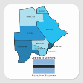 Flag and Map of Botswana Square Stickers