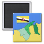 Flag and Map of Brunei Fridge Magnets