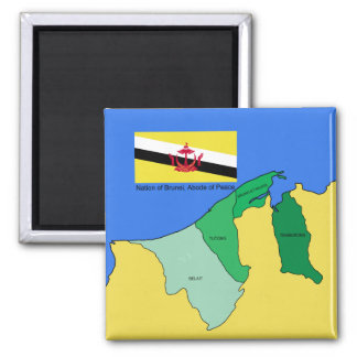Flag and Map of Brunei Magnet