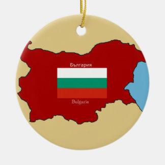 Flag and Map of Bulgaria Ceramic Ornament