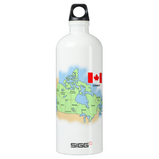 Flag and Map of Canada Aluminum Water Bottle