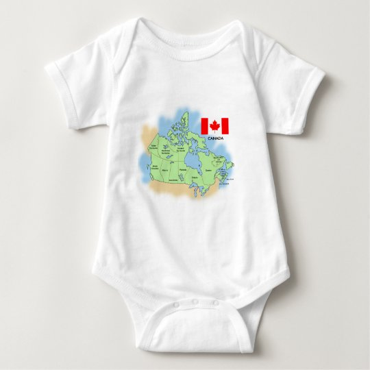 Flag and Map of Canada Baby Bodysuit