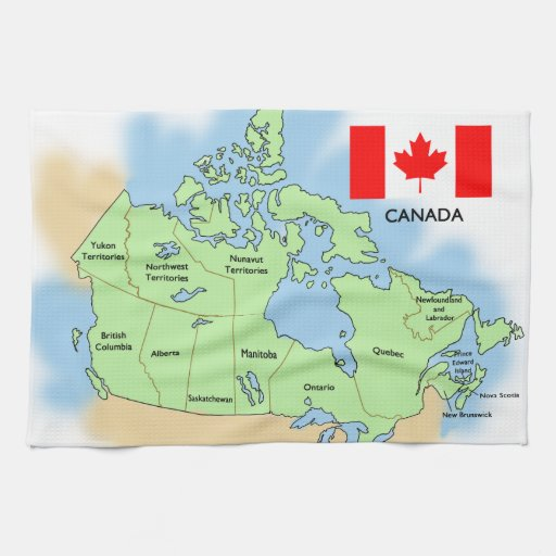 Flag And Map Of Canada Hand Towel Zazzle