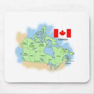Flag and Map of Canada Mouse Pad