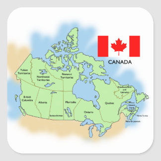 Flag and Map of Canada Square Sticker