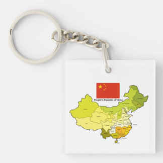 Flag and Map of China Keychain