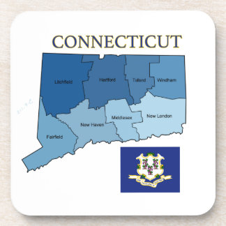 Flag and Map of Connecticut Coaster