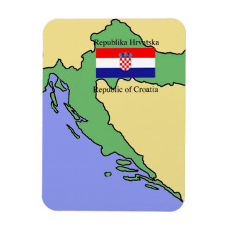 Flag and Map of Croatia Magnet