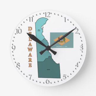 Flag and Map of Delaware Clock