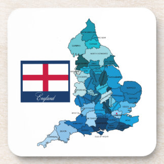 Flag and Map of England Coaster