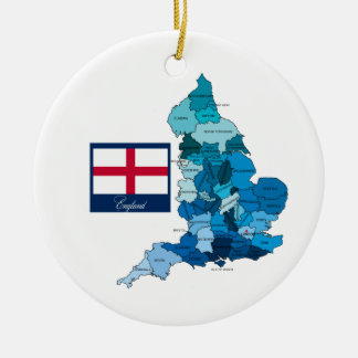 Flag and Map of England Christmas Tree Ornaments