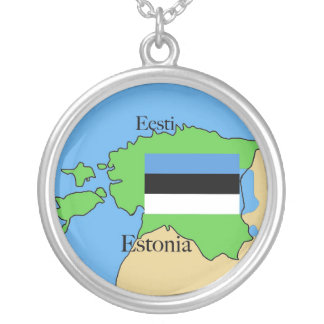 Flag and Map of Estonia Round Pendant Necklace