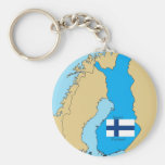 Flag and Map of Finland Basic Round Button Keychain