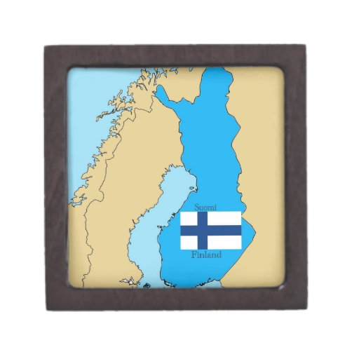 Flag and Map of Finland Premium Trinket Box
