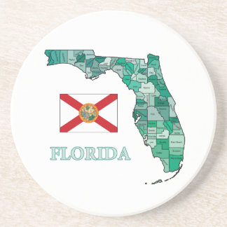Flag and Map of Florida Beverage Coaster