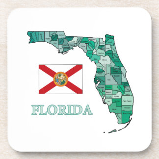 Flag and Map of Florida Drink Coaster