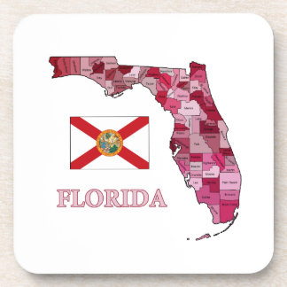 Flag and Map of Florida Coasters