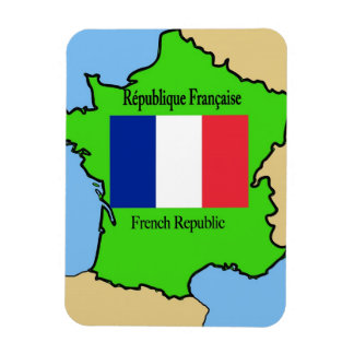 Flag and Map of France Magnet