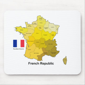 Flag and Map of France Mouse Pads