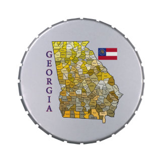 Flag and Map of Georgia Jelly Belly Tins