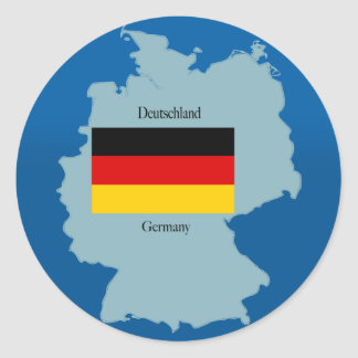 Flag and Map of Germany Classic Round Sticker
