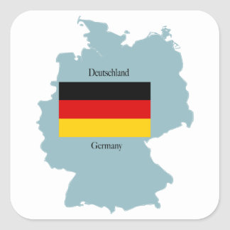Flag and Map of Germany Square Sticker