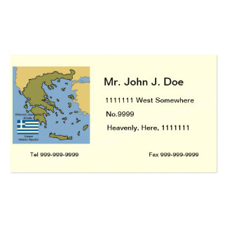 Flag and Map of Greece Business Cards