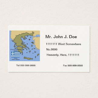 Flag and Map of Greece Business Card
