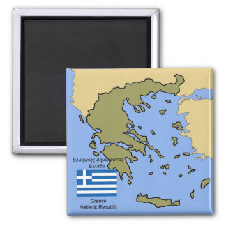 Flag and Map of Greece Magnet