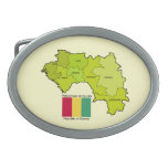 Flag and Map of Guinea Oval Belt Buckle