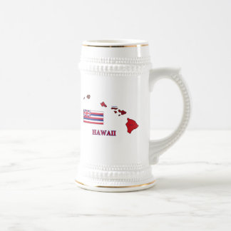 Flag and Map of Hawaii 18 Oz Beer Stein