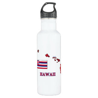 Flag and Map of Hawaii 24oz Water Bottle