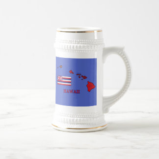Flag and Map of Hawaii Beer Stein
