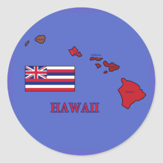 Flag and Map of Hawaii Classic Round Sticker