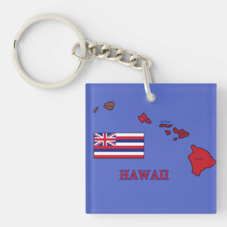 Flag and Map of Hawaii Double-Sided Square Acrylic Keychain