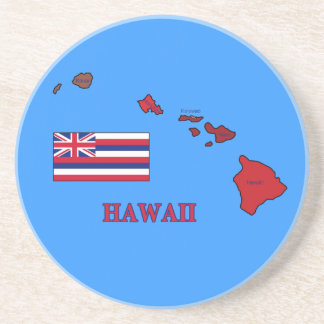 Flag and Map of Hawaii Drink Coasters