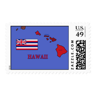 Flag and Map of Hawaii Postage Stamp