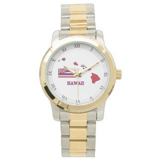 Flag and Map of Hawaii Wrist Watch