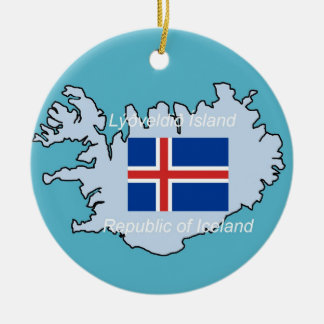 Flag and Map of Iceland Ceramic Ornament