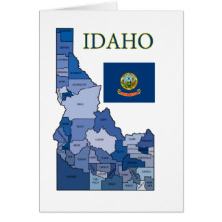 Flag and Map of Idaho Card
