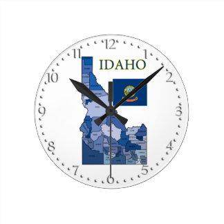 Flag and Map of Idaho Wall Clocks