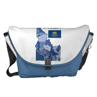 Flag and Map of Idaho Courier Bags