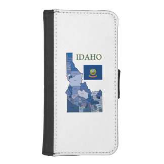 Flag and Map of Idaho iPhone 5 Wallet Cases