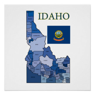 Flag and Map of Idaho Poster