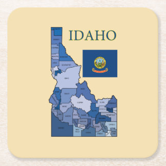 Flag and Map of Idaho Square Paper Coaster